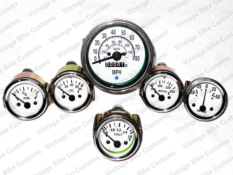 Willys MB gauges Kit  85 mm Speedometer Temp Oil  Fuel  Volt  amp