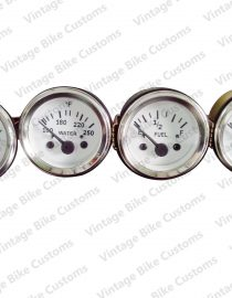 "Electrical Oil Pressure Temperature 2"" / 52mm 30 Amps Fuel Gauge - White"