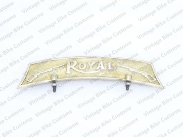 ROYAL ENFIELD FRONT MUDGUARD NUMBER PLATE BRASS ROYAL EMBOSSED