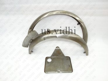 EXCELSIOR 1930's FRONT & REAR RAW MUDGUARD FENDER SET WITH NUMBER PLATE