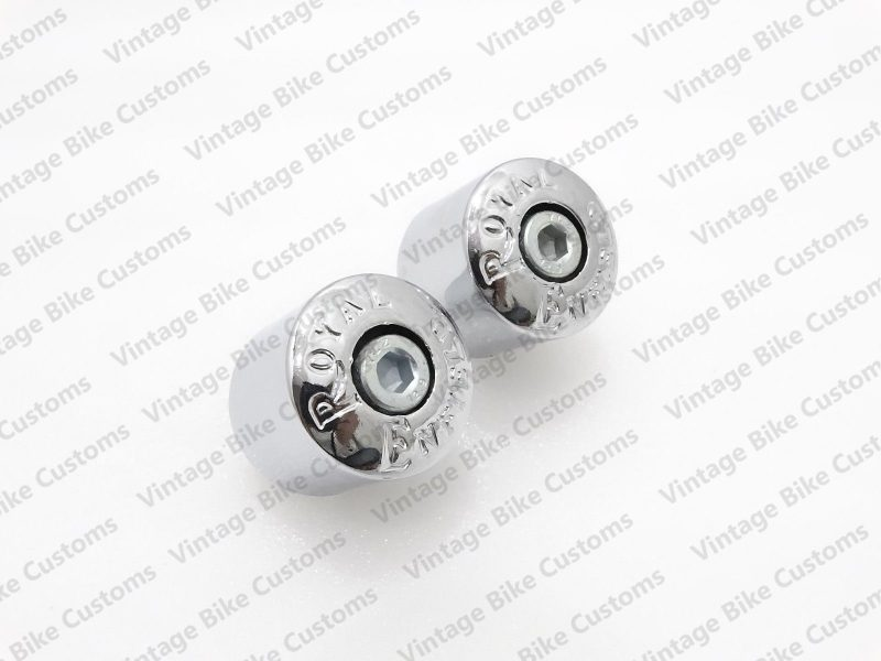 ROYAL ENFIELD PLASTIC HANDLE BAR WEIGHTS IN CHROME EMBOSSED
