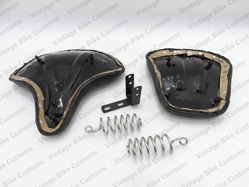 ROYAL ENFIELD HARLEY STYLE FRONT & REAR LEATHERITE COMPLETE SEATS