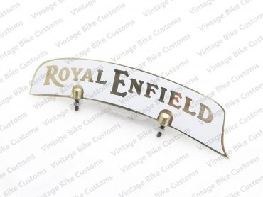 ROYAL ENFIELD  FRONT MUDGUARD BRASS NUMBER PLATE WHITE STICKER