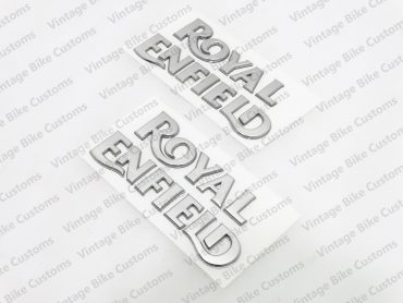 ROYAL ENFIELD SCRIPT PLASTIC CHROME LOGO TANK STICKER SET