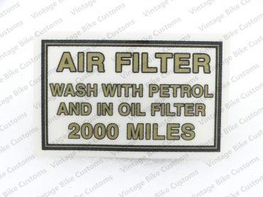 ROYAL ENFIELD AIR FILTER BOX STICKER