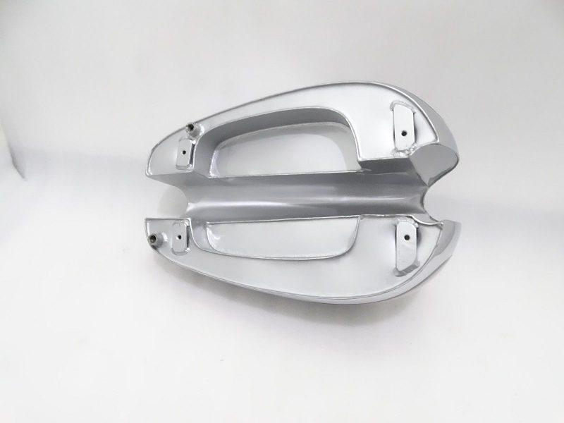 NORTON ES2 SILVER PAINT CHROME PETROL TANK 1952 (2 side hole for knee pad)