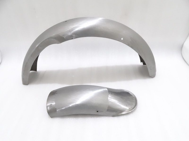 NORTON MODEL 18 FRONT AND REAR MUDGUARD SET RAW STEEL